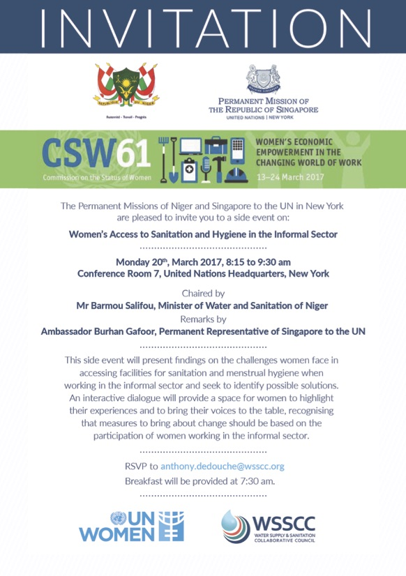 invitation womens access to sanitation and hygiene in the informal