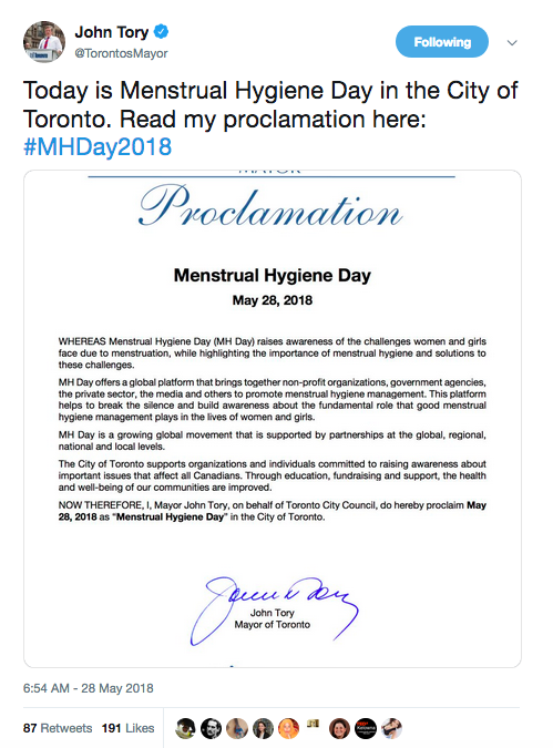 Reflecting on Toronto's Inaugural Menstrual Hygiene Day 2018